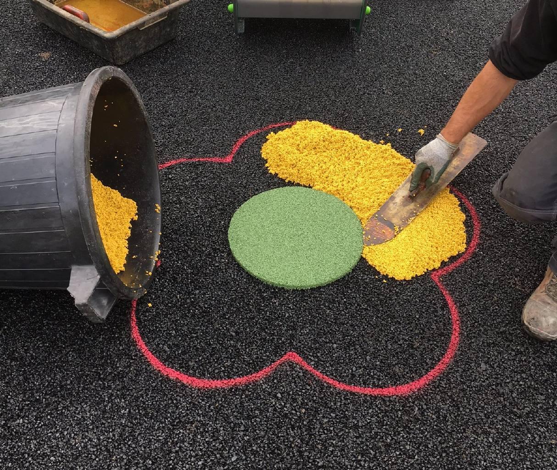 Réhabilitation d'un sol souple avec motifs
