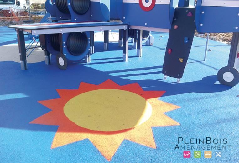 cr ation de sol souple amortissant sur une aire de jeux plein bois am nagement. Black Bedroom Furniture Sets. Home Design Ideas